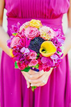 Colorful Cala Lily and dahlia wedding bouquet: http://www.stylemepretty.com/california-weddings/sonoma/2017/02/13/getting-married-al-fresco-never-looked-so-pretty/ Photography: Milou and Olin - http://www.milouandolin.com/