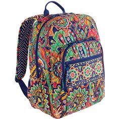 Vera Bradley Campus Backpack in Venetian Paisley ($79) ❤ liked on Polyvore featuring bags, backpacks, bittersweet, sale colors, venetian paisley, rucksack bag, zip bags, strap bag, strap backpack and pocket bag