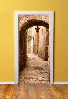 Amazon.com - 32x80 Canvas 3D Door (Sticker) Murals - PEEL & STICK - Made from tear-proof, washable, cotton canvas. Jerusalem stone passage to the Western Wall -