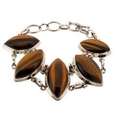 Tigers Eye Sterling Silver .925 Gemstone Bracelet Adjustible with Toggle
