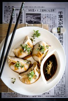 homemade dumplings with chicken, bamboo shoots and ginger filling.
