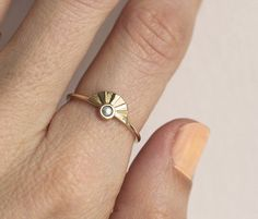 White Pearl Ring Sunrise Ring Pearl Engagement Ring by MinimalVS