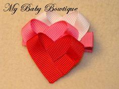 Girls Hair Bow Clip  Three Hearts Clip by MyBabyBowtique on Etsy, $4.00