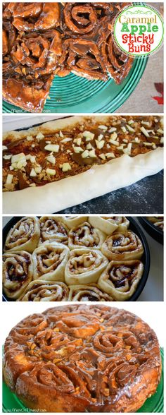 Caramel Apple Sticky Buns - All the yummy flavors of a caramel apple in a breakfast treat! ||MomOnTimeout.com |