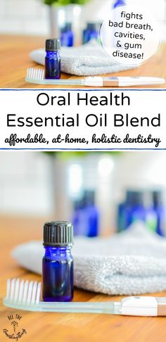 This oral health essential oil blend is antibacterial, so it fights bad breath, caries, cavities, and gum disease. Use 1 drop every time you brush! Gum Health, Teeth Health, Oral Health, Health Care, Healthy Teeth, Dental Health, Essential Oils For Pain, Essential Oil Blends, Receeding Gums