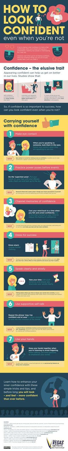 How to Look Confident (Even When You're Not): We all have our less-than-confident days, and if you're like me, you feel that way pretty often. But it doesn't have to be that way. There are scientifically-backed things you can do to project confidence -- and maybe even feel more confident for real, too.