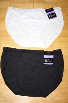 340788064c51 NWT set of 2 BALI Seamless HIPSTER PANTIES underwear lace black white L 7  #Balistayinplacetechnology #hipster