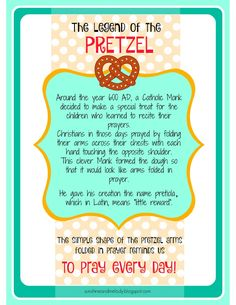 LDS ACTIVITY DAYS Pretzels and Prayer Activity and lesson. GREAT lesson for Family Home Evening FHE or Primary, Scouts, Young women or any religious group. Legend of the Pretzel Printable from Sunshine and Melody at sunshineandmelody. Young Women Activities, Primary Activities, Activities For Girls, Primary Lessons, Church Activities, Group Activities, Bible Lessons, Object Lessons, Indoor Activities