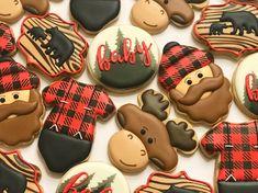 Lumberjack woodland buffalo plaid moose baby shower decorated cookies #babyshower #buffaloplaid #lumberjack #woodland #moose #beard #decoratedcookies #bear #royalicing