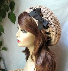Crochet Slouchy Beret, Womens Hat, Taupe or Pick Your Color, Ribbon, Chunky, Teens, Winter, Birthday Gifts, Gifts for Her, JE368BTR2. $36.00, via Etsy.