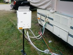 Popup Camper hot water heater system. Portable on demand propane heater - Ecotemp L5