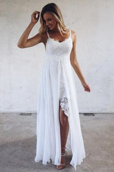 Bohemian Wedding Dress Inspiration French Lace Dress Handmade by Grace Loves Lace Hollie Grace Loves Lace, Gwen Stefani Wedding Dress, Boho Dress, Lace Dress, Slit Dress, Bohemian White Dress, Lace Maxi, Wedding Party Dresses, White Sundress Wedding