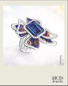 What is more joyful than the sun? A star with its lustrous rays. We imagined a jewel that enhances the natural brightness of gems and reminds us of the brilliance of the most beautiful star of all. Ring Sketch, Joyful, Most Beautiful, Sapphire, Gems, Sun, Jewels, Stars, Natural