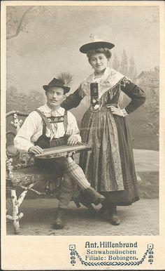 Bavarian couple in folk costume with zither Schwabmünchen