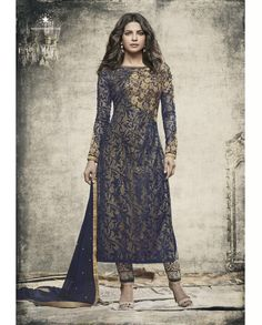 1. Blue embroidered Net suit 2. Embroidery with jari, sequins and stone work  3. Comes with a matching chiffon dupatta finish with lace and stone work 4. Can be stitched upto size 42 inches