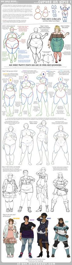 This is awesome- although I find it slightly frustrating that the characters all have some reason (to do with eating) for why they are fat... Ugh... Otherwise it is wonderful! Tutorial - Curves on Girls by *Ai-Bee on deviantART
