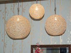 diy hemp globe lamp... weird decorative balls, lamps, holding bowls... endless possibilites.  no time at all.
