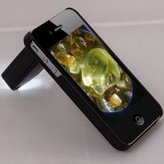 Illuminated iPhone Microscope Lens  LED illuminated 60X-100X magnifying microscope, specially designed for iPhone 5G. Great for watch ... more