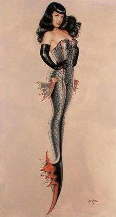 Bettie Page Mermaid Pin-up [^] Olivia De Berardinis Pinup Art, Desenhos Love, Olivia De Berardinis, Mermaid Art, Pin Up Mermaid, Mermaid Pinup, Shark Mermaid, Mermaid Images, Mermaid Paintings