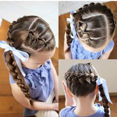 All of these hair-styles will be fairly easy and are ideal for starters, quick and easy toddler hair styles. Lil Girl Hairstyles, Girls Hairdos, Princess Hairstyles, Girls Braids, Pretty Hairstyles, Braided Hairstyles, Braided Ponytail, Kids Hairstyle, Perfect Hairstyle