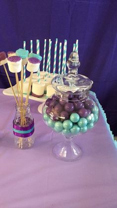 Teal & purple girl baby shower cute baby shower simple diy crafts decor candy table