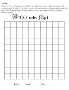 Easy to implement, engaging, hands-on math activities for the hundredth day of school. Separate pages to keep track of data for 100 coin flips, 100 dice rolls and a mind-stretcher homework sheet.  $2