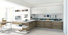 cocina contraste blanco y madera