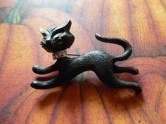 Vintage Halloween Black Cat Pin by CaityAshBadashery on Etsy, $9.95