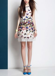 Butterfly Printed Silk Lace Stitching Dress on Luulla