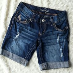 *host pick!!!* Jean shorts 8/22 Fresh Fashion Host Pick. With copper sequin detail. Preloved. Amethyst Shorts Jean Shorts