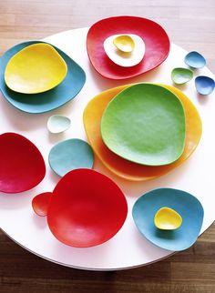 "apartmentdiet: "" calder resin plates by aussie co Dinosaur Designs. Dinosaur Designs is definately worth a look in if you havent seen their stuff or want to find plates & jewelry that's a bit. Orange One Piece, Bowls, Kitchenware, Tableware, Dinosaur Design, Rainbow Colors, Decoration, Dinnerware, Design Art"