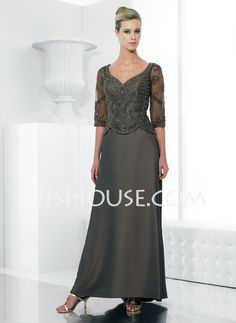 Mother of the Bride Dresses - $162.39 - A-Line/Princess V-neck Sweep Train Charmeuse Mother of the Bride Dresses With Lace  Beading (008006181) http://jjshouse.com/A-line-Princess-V-neck-Sweep-Train-Charmeuse-Mother-Of-The-Bride-Dresses-With-Lace--Beading-008006181-g6181