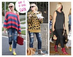 BUMP IT UP BABE: GWEN STEFANI--Forty four year old mom-to-be Gwen Stefani knows how to rock her baby bump. Her secret? Balanced proportion. She pairs drapey tops with streamlined denim and adds a pop of color with fun footwear.