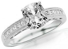1 Carat GIA Certified Cushion Cut / Shape Channel Set Diamond Engagement Ring ( D Color , VVS2 Clarity )
