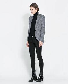 Blazer: Zara BLAZER WITH IMITATION LEATHER PIPING