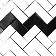 Tile inspiration #tiles #pattern #geometric #monochrome #subwaytiles #herringbone