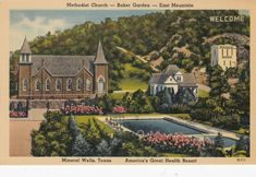 MINERAL WELLS , Texas , 1930-40s ; ME Church Mineral Wells Texas, Old Churches, My Church, Historical Society, Vintage Postcards, Minerals, United States, America, Mansions