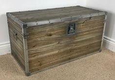 This trunk could be used as a small coffee table creating a stunning industrial inspired centrepiece to your living room or as a desirable and practical storage solution to any room in your home. This trunk has been lightly distressed to give it an authentic aged / worn appearance. | eBay!