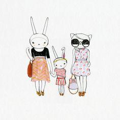 Fifi Lapin Bunnies with little girl bunny