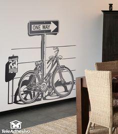 """Bicicleta antigua aparcada sobre una clásica señal de tráfico americana """"One Way"""" #teleadhesivo #decoracion"""