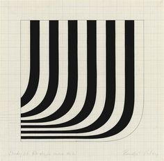 blastedheath:  Bridget Riley (British, b. 1931), Study '66 R+Angle Curve No 1, 1966. Gouache and graphite on paper, 12 x 12 in.