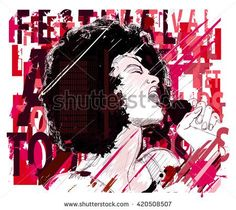 Music Jazz, afro american jazz singer on grunge background - vector illustration