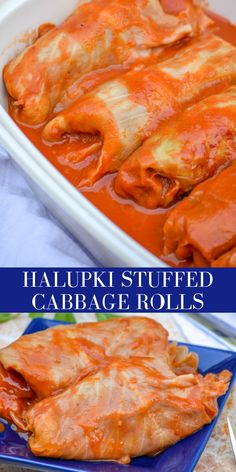 Halupki Stuffed Cabbage Rolls are a traditional Eastern European dish. A blend of beef, sausage, & rice is stuffed into tender cabbage leaves and baked in and drizzled with a sweet, soupy tomato sauce. Lunch Recipes, Breakfast Recipes, Healthy Recipes, Curry Recipes, Delicious Recipes, Beef Recipes, Hungarian Recipes, Slovak Recipes, Hungarian Food