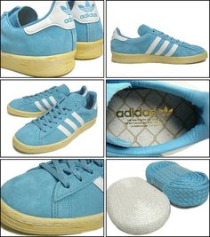 A nice compilation of photos of the adidas Mita Campus 80s showing lots of detail plus the two pairs of laces included