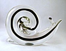 Cenedese Murano Sommerso Snail with a Sommerso Filament ~ from San Marcos Art Glass on Ruby Lane