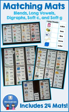 Word Reading Matching Mats Set 2 Practice Blends, Long Vowels, Digraphs, Soft C and Soft G. 24 Mats! Each page is a reading activity! Teach Phonics