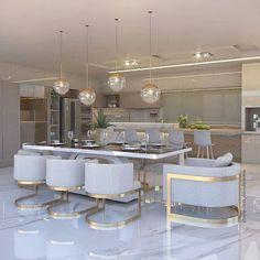 Luxury Kitchen Design, Kitchen Room Design, Home Room Design, Luxury Kitchens, Dining Room Design, Home Decor Kitchen, Interior Design Kitchen, House Design, Kitchen Dinning