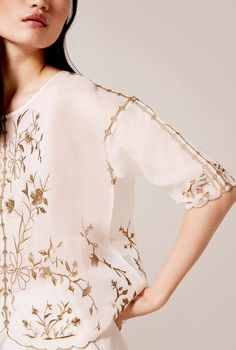 Our dreamy organza embroidered blouse is that stunning wardrobe piece you will always be proud of. Bell Sleeves, Bell Sleeve Top, Embroidered Blouse, Clothes For Women, Stuff To Buy, Shopping, Tops, Fashion, Woman Clothing