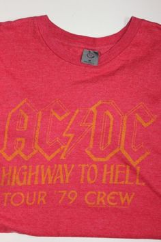 Mens AC DC Highway To Hell 1979 Tour Crew Red Distressed T Shirt Medium Unisex