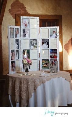 Engagement pics on guest book table at a wedding. THIS IS ALSO A GREAT IDEA FOR GRADUATION, A BDAY, ANNIVERSARY, ETC.